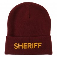 Sheriff Military Embroidered Long Cuff Beanie - Maroon