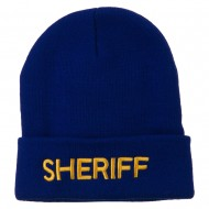 Sheriff Military Embroidered Long Cuff Beanie - Royal