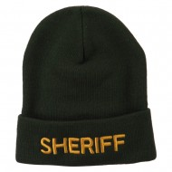 Sheriff Military Embroidered Long Cuff Beanie - Olive
