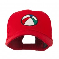 Summertime Beach Ball Embroidered Cap - Red