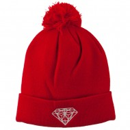 Small Diamond Embroidered Pom Beanie - Red