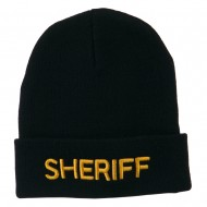 Sheriff Military Embroidered Long Cuff Beanie - Navy