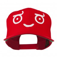 Smiley Face Emoticon Embroidered Snapback Cap - Red