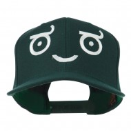 Smiley Face Emoticon Embroidered Snapback Cap - Spruce
