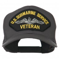US Submarine Service Veteran Military Patched High Profile Cap - Charcoal Grey