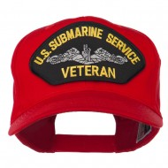 US Submarine Service Veteran Military Patched High Profile Cap - Red