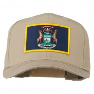 State of Michigan Embroidered Patch Cap - Khaki