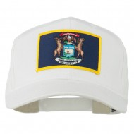State of Michigan Embroidered Patch Cap - White