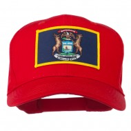 State of Michigan Embroidered Patch Cap - Red