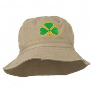 Saint Patrick's Day Clover Embroidered Bucket Hat - Khaki