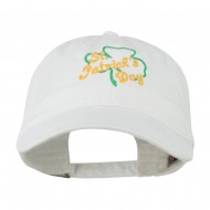 St Patrick's Day Clover Embroidered Cap - White