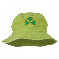 Saint Patrick's Day Clover Embroidered Bucket Hat - Apple Green