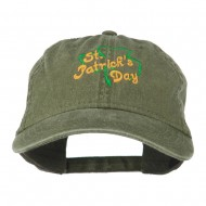 St Patrick's Day Clover Embroidered Cap - Olive Green