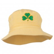 Saint Patrick's Day Clover Embroidered Bucket Hat - Yellow