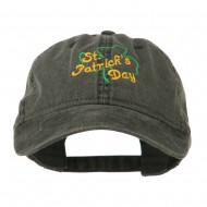 St Patrick's Day Clover Embroidered Cap - Black