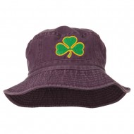 Saint Patrick's Day Clover Embroidered Bucket Hat - Burgundy
