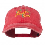 St Patrick's Day Clover Embroidered Cap - Red