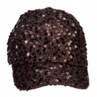 Women's Sequin Ball Cap - Brown