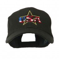 USA Logo with Star Embroidered Cap - Black