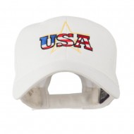 USA Logo with Star Embroidered Cap - White
