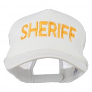 Sheriff Embroidered Foam Front Mesh Back Cap - White
