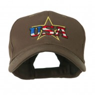 USA Logo with Star Embroidered Cap - Brown