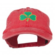 Shamrock Embroidered Washed Cap - Red