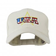USA Logo with Star Embroidered Cap - Stone