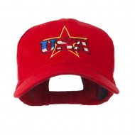USA Logo with Star Embroidered Cap - Red