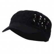 Army Cap with Studs - Black