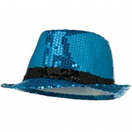 Shiny Sequin Fedora Hat - Blue Black