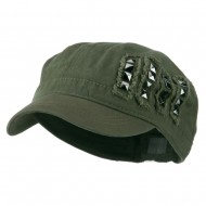 Army Cap with Studs - Olive
