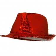 Shiny Sequin Fedora Hat - Red