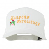 Seasons Greetings Embroidered Cap - White