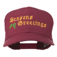 Seasons Greetings Embroidered Cap - Maroon
