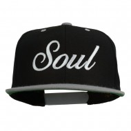 Soul Embroidered Snapback Cap - Black Silver