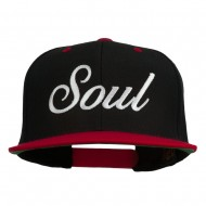 Soul Embroidered Snapback Cap - Black Red
