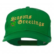 Seasons Greetings Embroidered Cap - Kelly