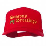 Seasons Greetings Embroidered Cap - Red