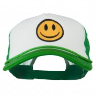 Smiley Face Embroidered Big Size Trucker Cap - White Kelly