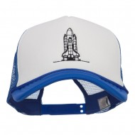 Space Shuttle Embroidered Foam Mesh Cap - Royal White