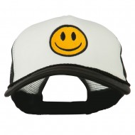 Smiley Face Embroidered Big Size Trucker Cap - White Black