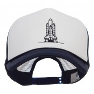Space Shuttle Embroidered Foam Mesh Cap - Navy White