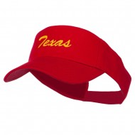Texas State Embroidered Cotton Twill Sun Visor - Red