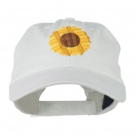 Sunflower Embroidered Cap - White