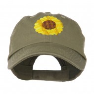 Sunflower Embroidered Cap - Olive