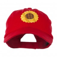 Sunflower Embroidered Cap - Red