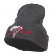 Sky Dive Embroidered Long Beanie - Dk Grey