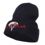 Sky Dive Embroidered Long Beanie - Navy