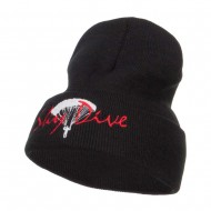Sky Dive Embroidered Long Beanie - Black